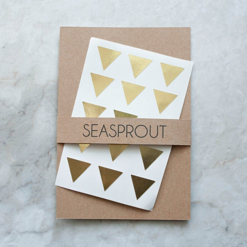 60 Metallic Gold Mini Triangle Stickers, Wedding Stickers, Envelope Seals, Mini Stickers, Gold Stickers, Gift Wrapping, Pyramid Stickers - seasprout