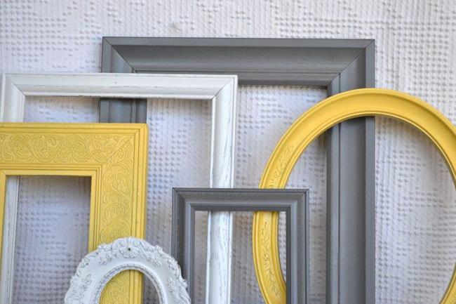 Yellow, Grey White Frames Set of 6 - Upcycled Frames Modern  Bedroom Decor