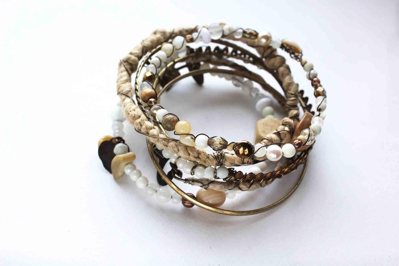 Cream bangles stack boho gypsy natural white tan urban tribal repurposed salvaged set of 7 bangles