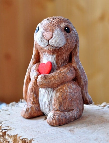 Wood carving rabbit with flowers by creativequiltsandetc