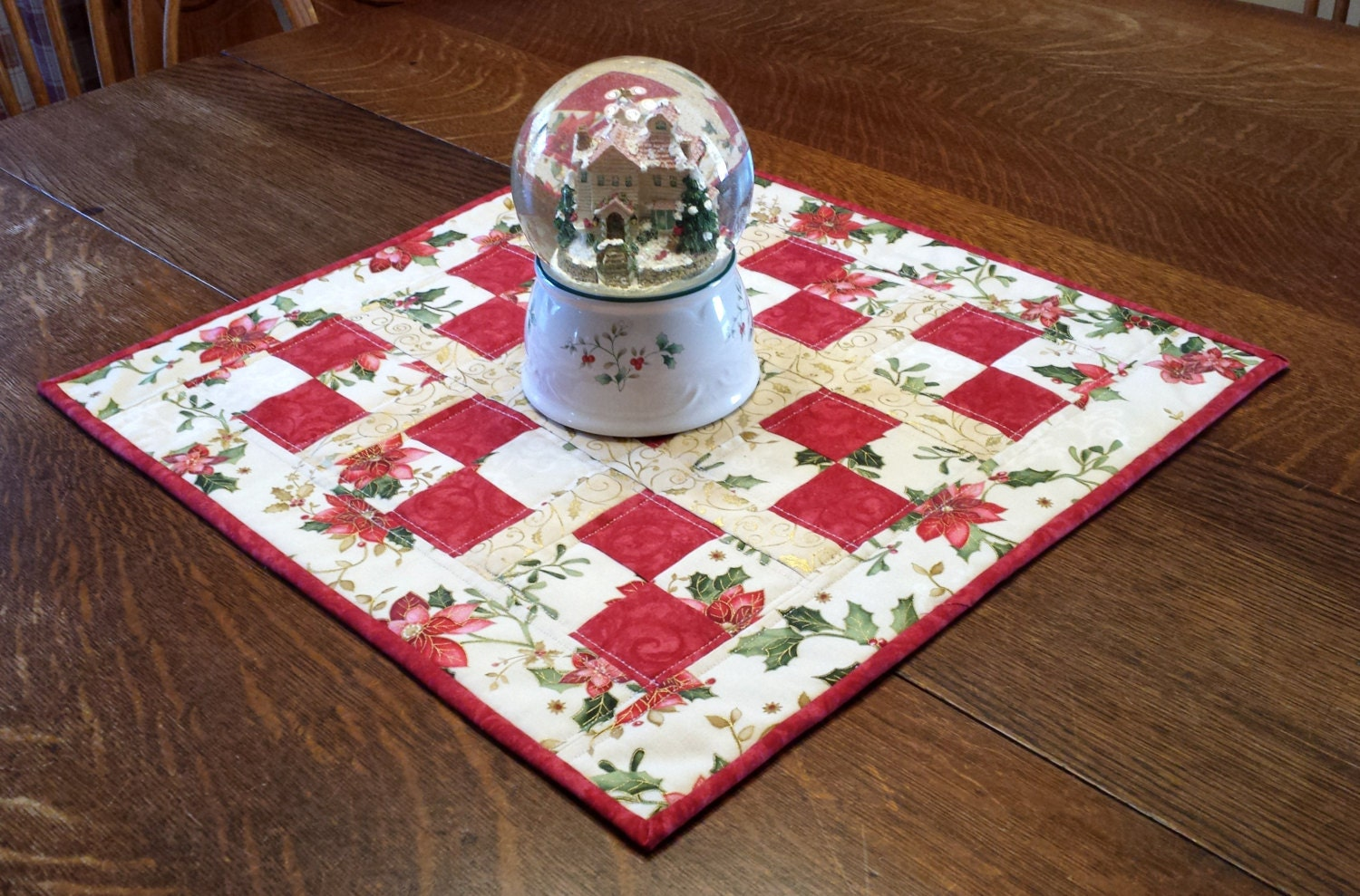 Free Patterns For Quilted Candle Mats : Quilted Christmas Candle Mat patchwork by WarmandCozyQuilts