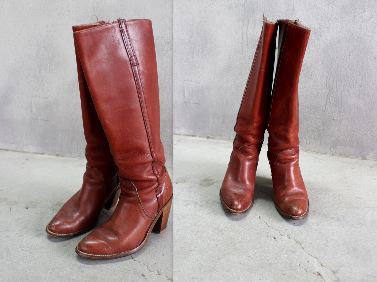 Frye vintage stacked heel boots brown leather 70 s tall boots size 5 1