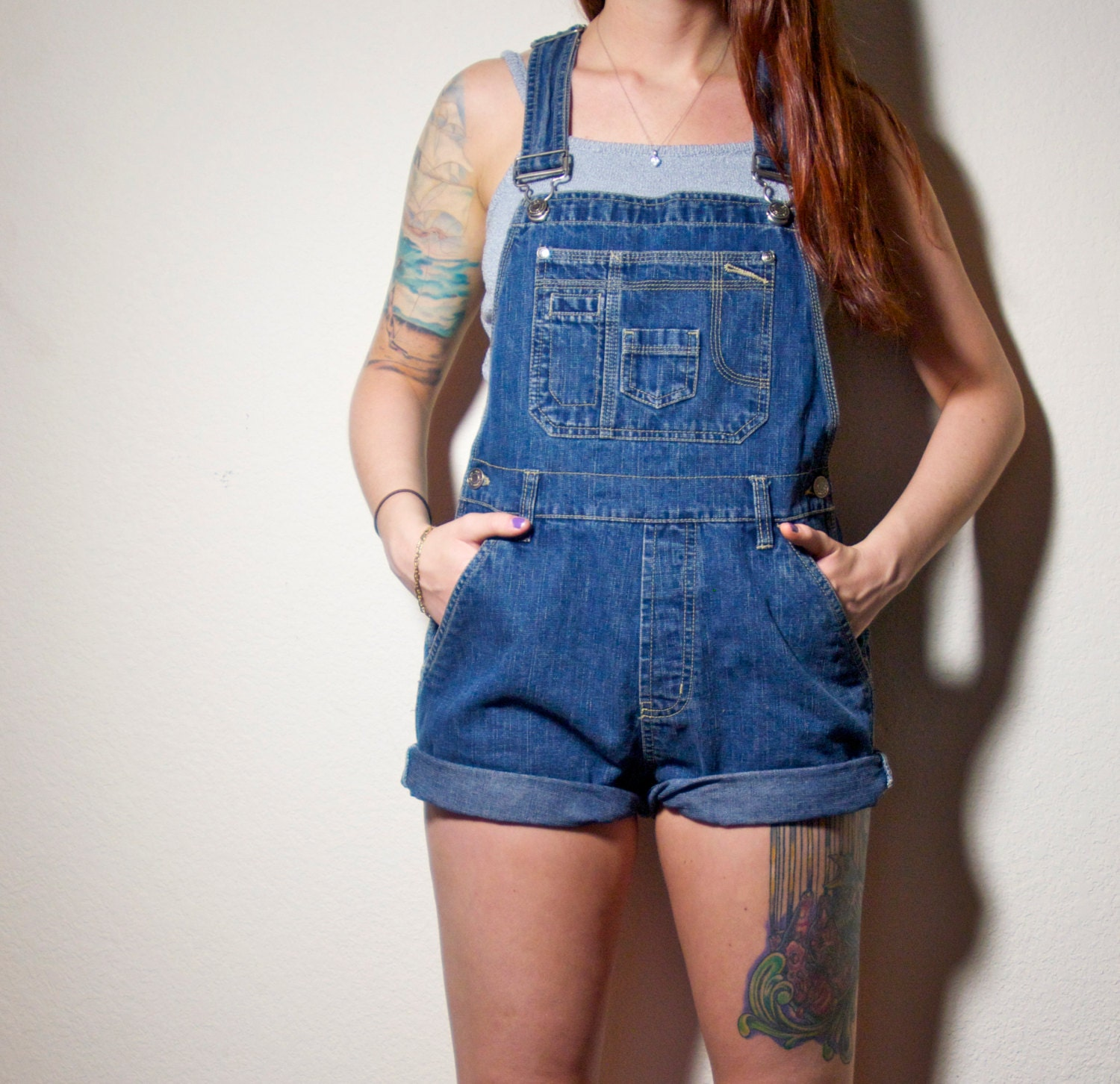 90s HIPSTER Grunge Blue Jean Overall Shorts Small S