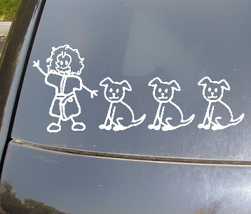 Stick family of 4 with dog