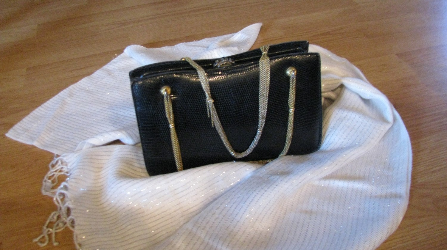 Vintage Black Lizard purse  for ten days 20 OFF