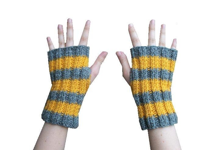 MADE TO ORDER Unisex Fingerless Gloves - Hand Knit in Mustard Yellow and Grey Stripes