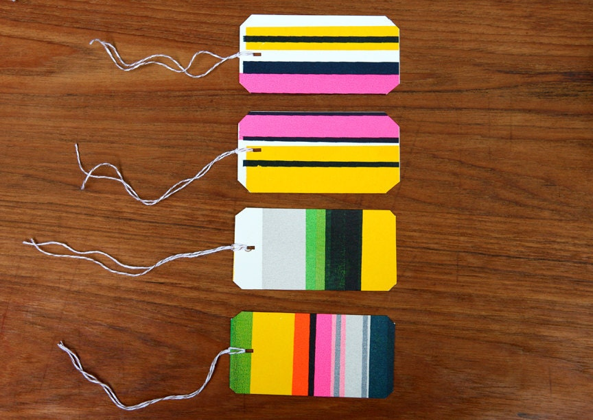 Gift Tags - Silk Screened  Striped Tags, Name tags - DeweyHoward