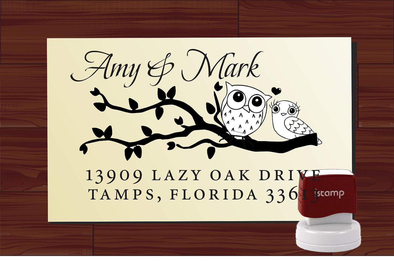 Love Owls on Swirl Branch Calligraphy Script Custom Rubber Stamp - SELF INKING Return Address Wedding Stationery Stamper - Style HS1307