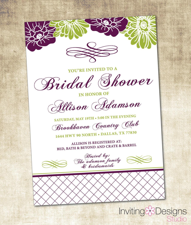 Bridal Shower Invitation - Floral, Eggplant Purple, Green (PRINTABLE ...