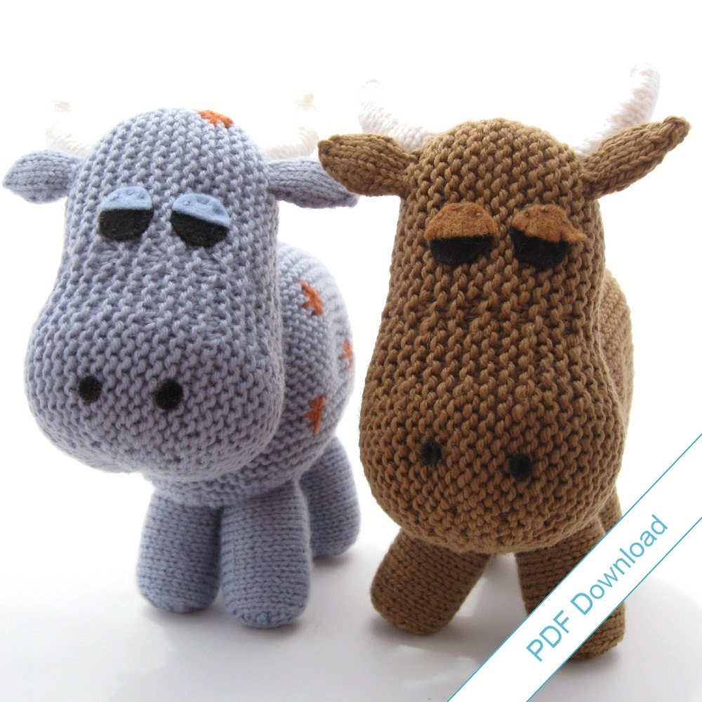 Knitting Patterns For Toys On Etsy : Knitting Pattern PDF Toy Cow. Knit Your Own Herd. by NattyKnits