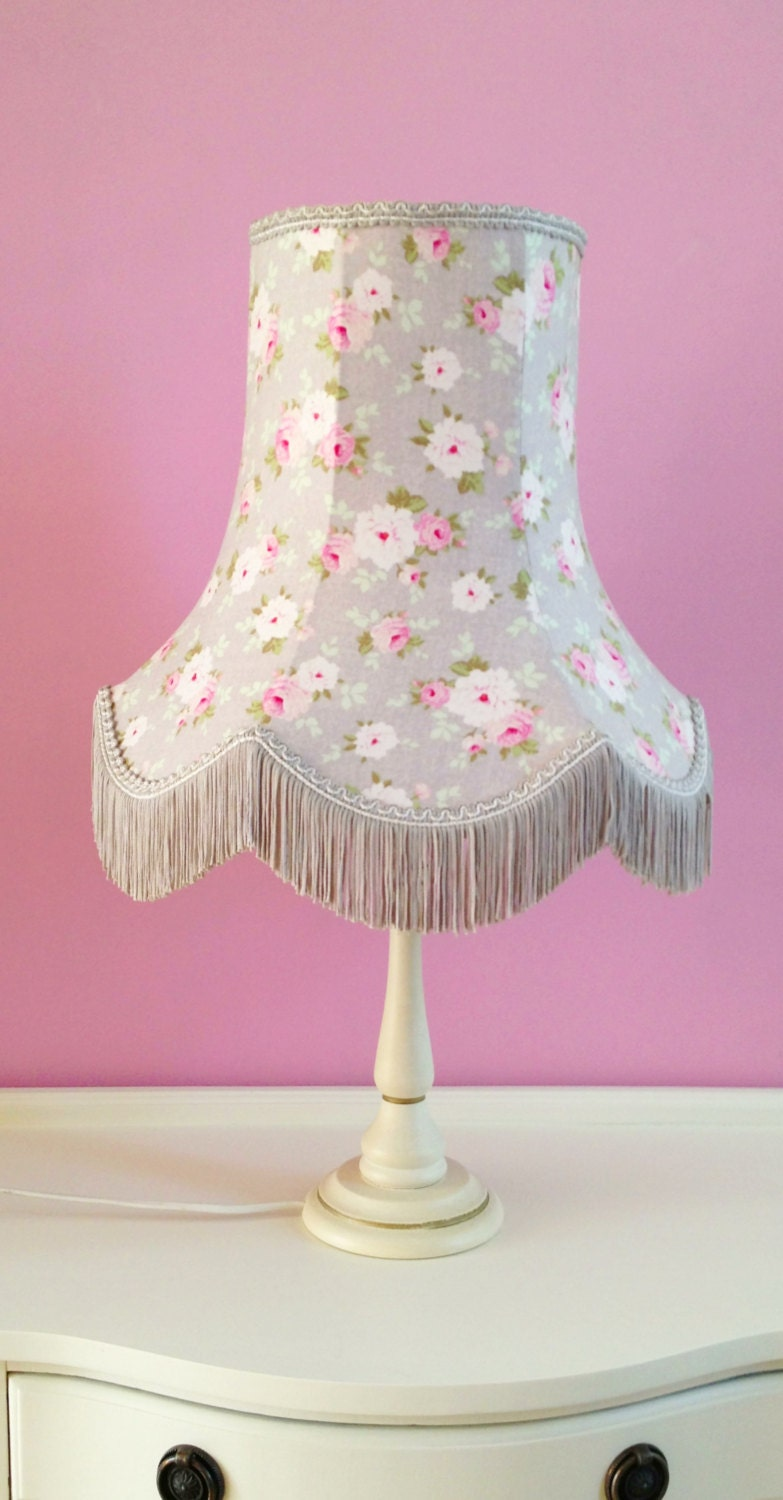 Items Similar To French Shabby Chic Lamp Shade In Grey And