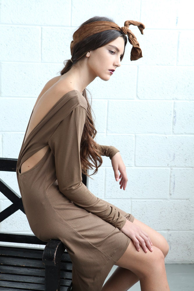 Sale 70% off,backless dress, Open Back Women Dress - Brown - naftul