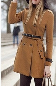Yellow /Navy blue wool women coat long sleeve coat with belt Spring Autumn Winter --CO041