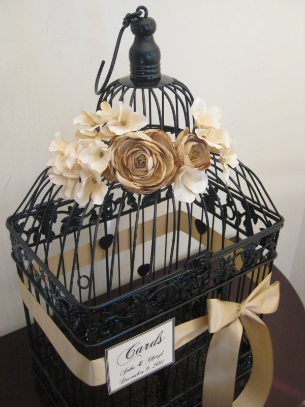 Black Bird Cage Wedding Card Holder Vintage Style / Vintage Style Wedding Card Holder Birdcage / Wedding Birdcage