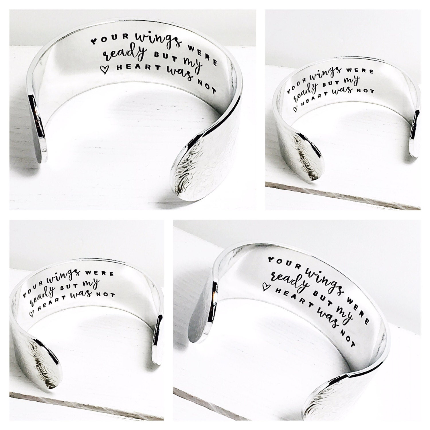 Memory Gift  In memory of  Personalised Bracelet  Personalize a secret message  Large band  Your wings were ready (C158)