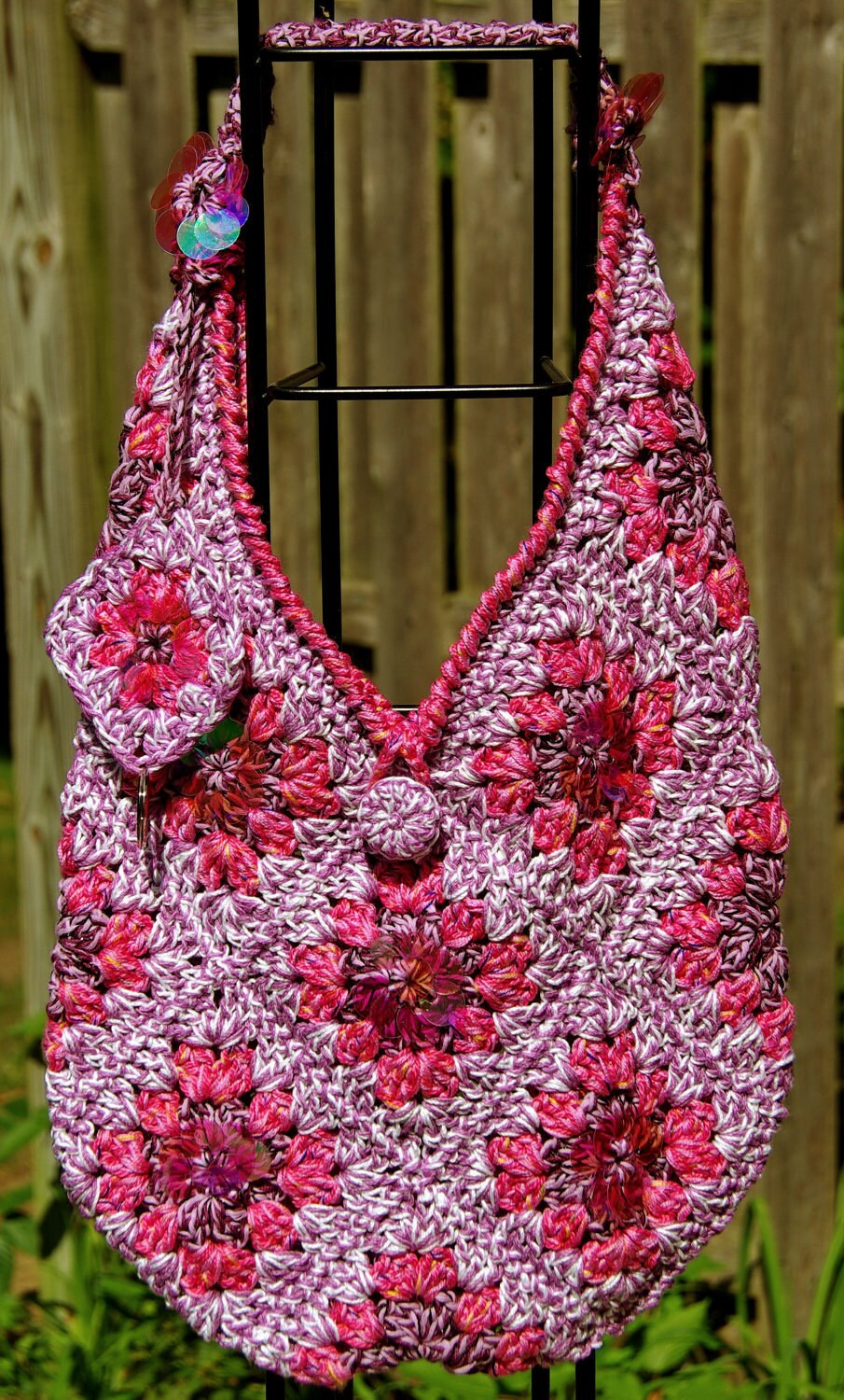 Granny Square Tote Bag : Granny Square Bag Tote Handmade Crochet Pink Sequin Bling. iPad ...