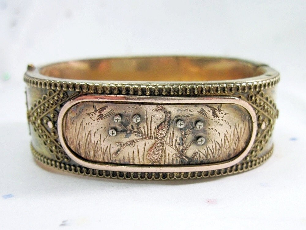 Antique Victorian Peacock Bracelet Bangle Birds C1875 - For Small Wrist - WickedDarling