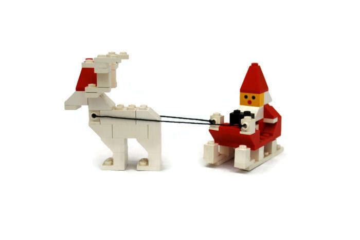 Vintage Lego Santa with Reindeer, Item 1628, red, white - vintagetoyshoppe