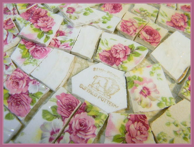 Mosaic tiles shabby chic old pink roses broken by for Shabby chic wall tiles