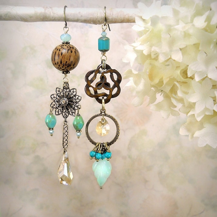 Tribal Echo 14 - Asymmetrical Mismatched Earrings OOAK, Carved Wood Knot, Gemstone, Aqua Chalcedony, Nut, Turquoise, Assemblage - MiaMontgomery