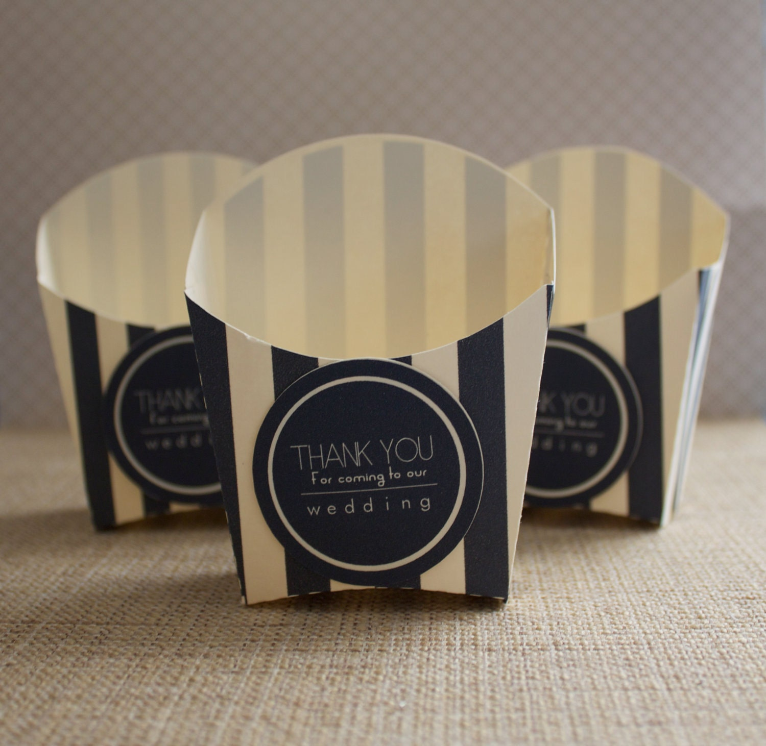 Black and Ivory Striped Fry Wedding Favor Boxes Treat Containers / Party Favors (50 containers)