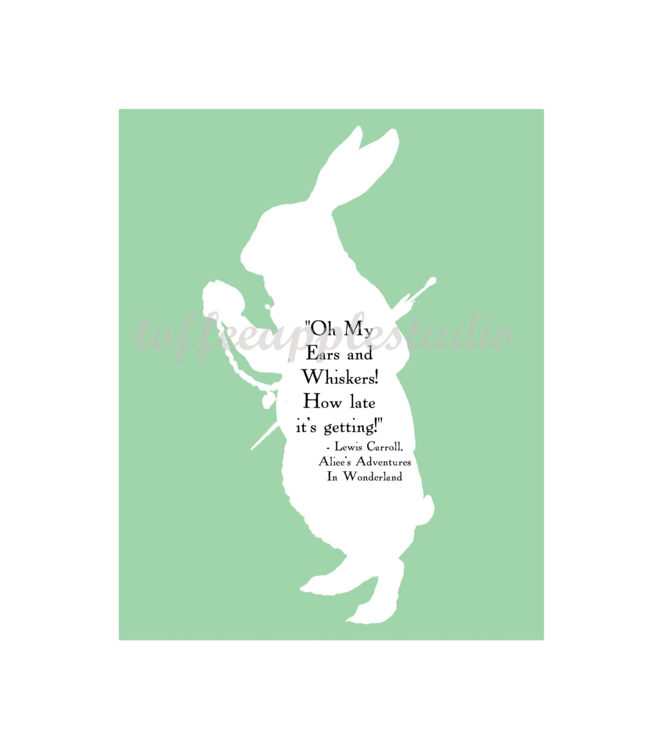 SALE White Rabbit Silhouette Text 8 x 10 art wall Alice In Wonderland    White Rabbit Silhouette