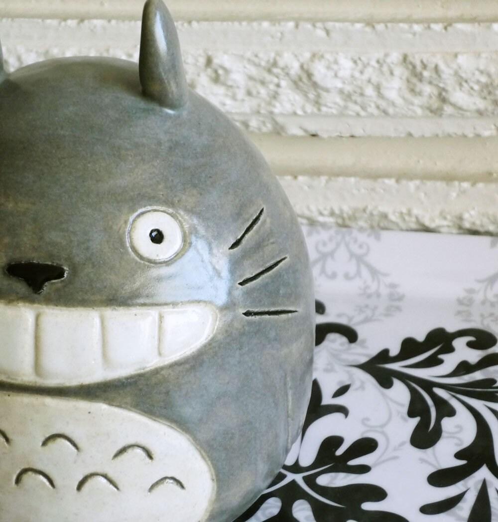 Happy totoro handmade ceramic coin bank by jadeflower on etsy for Handmade coin bank