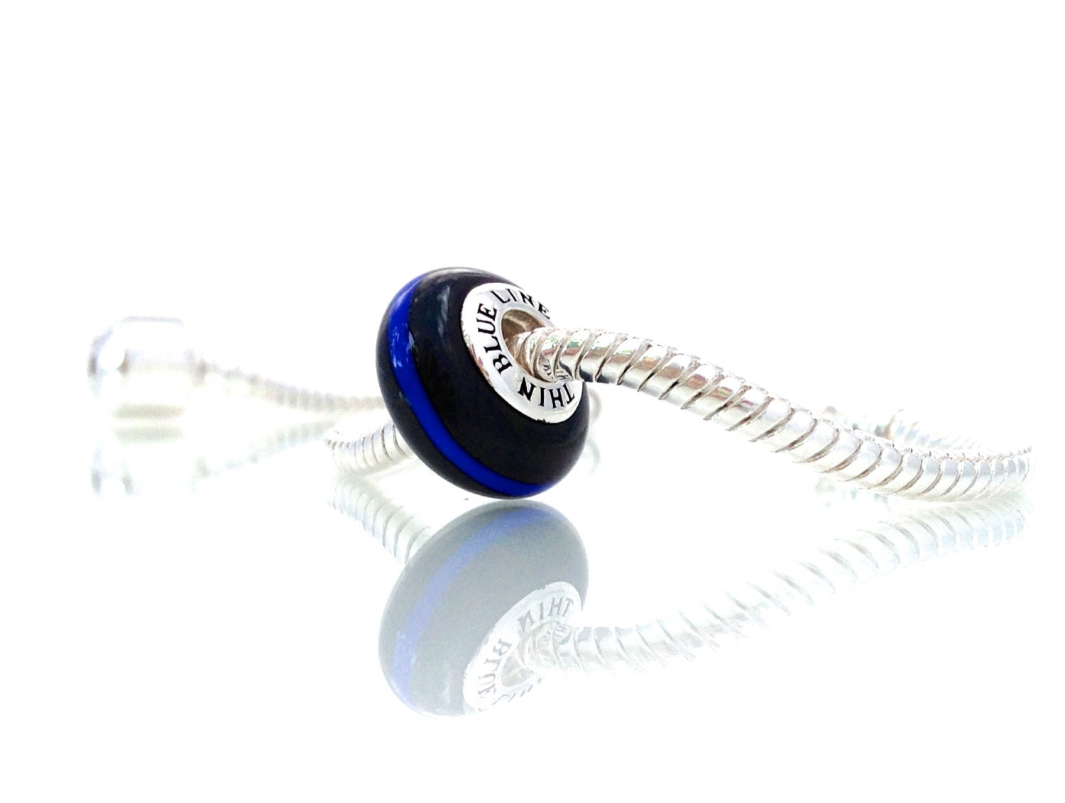 thin blue line glass charm by thin line by