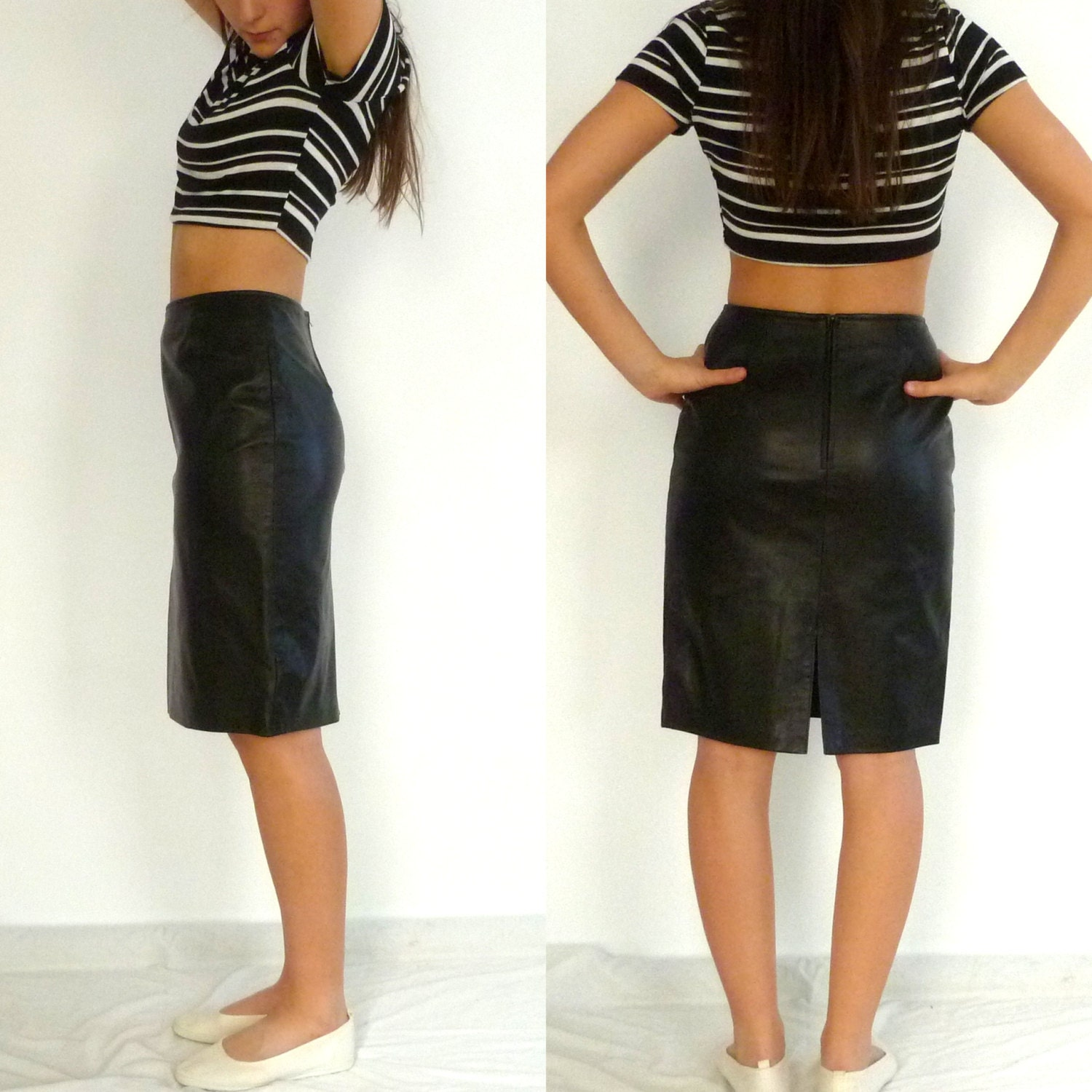 vintage soft leather skirt high waisted by