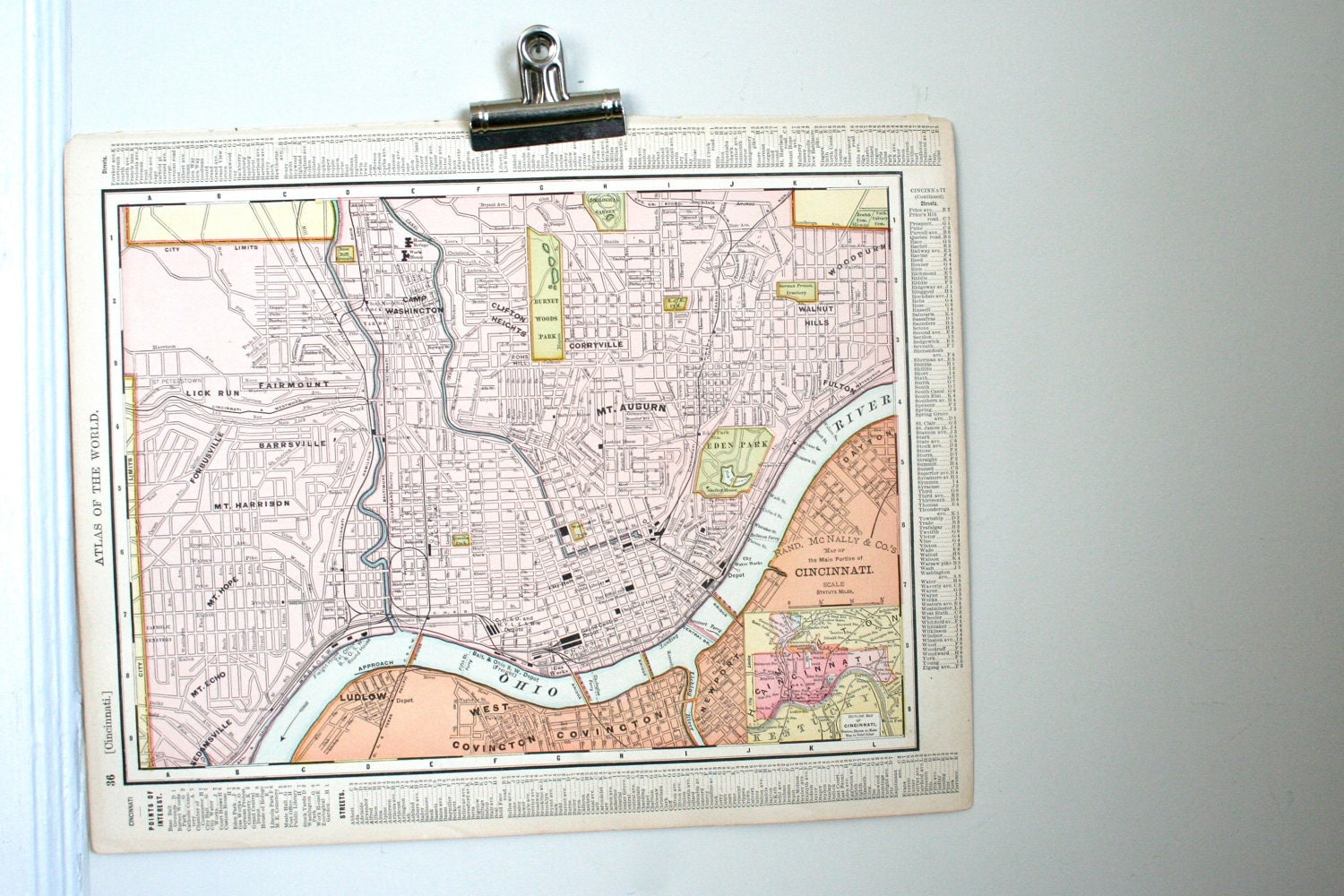 antique map of the city of  cincinnati on one side and the state of ohio - from 1905 atlas book