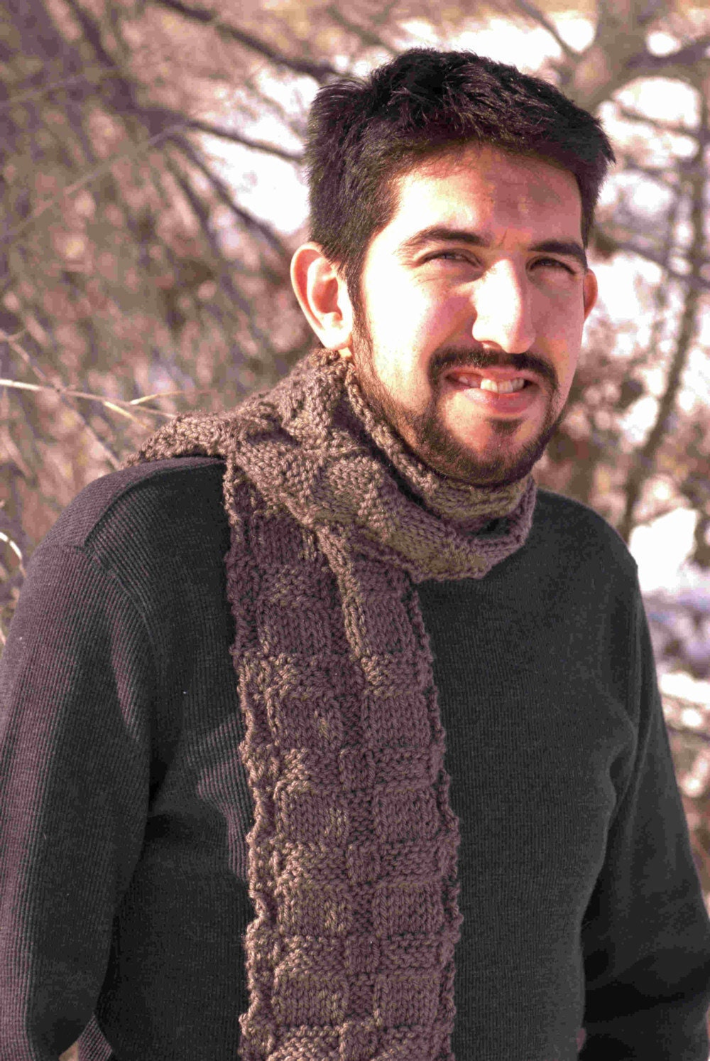 Brown Mens Scarf Hand Knit by ScarfAceKnits on Etsy Hand Knitted Men's Scarves