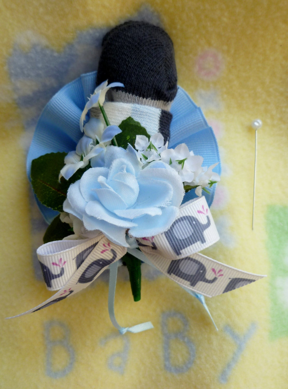 baby shower mom to be corsage baby bootie sock corsage for