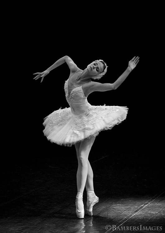 Fine Art Photography Print, Russian Ballerina in Black & White, Performing the Dying Swan in St Petersburg, Russia. A4 (210mm x 297mm) - BambersImages