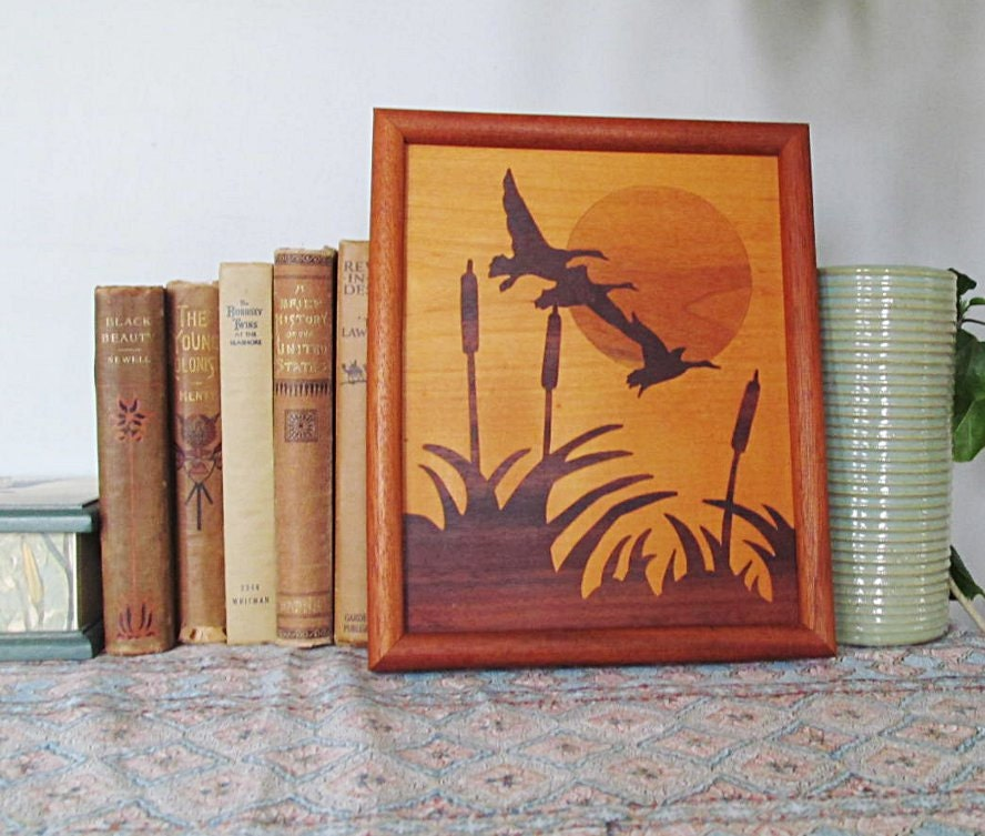 Wood Inlay Wall Decor : Wood inlay woodland duck nature home decor rustic by