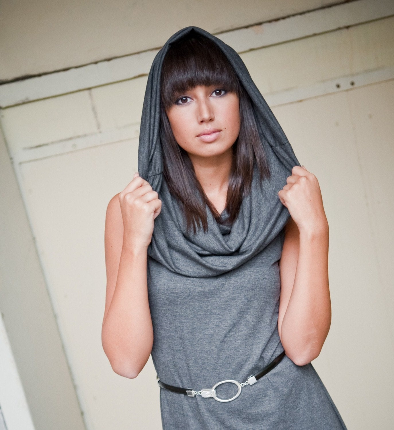 Chelsey sleeveless cowl jersey dress in gray - fall fashion women's clothing - custom made - tangente