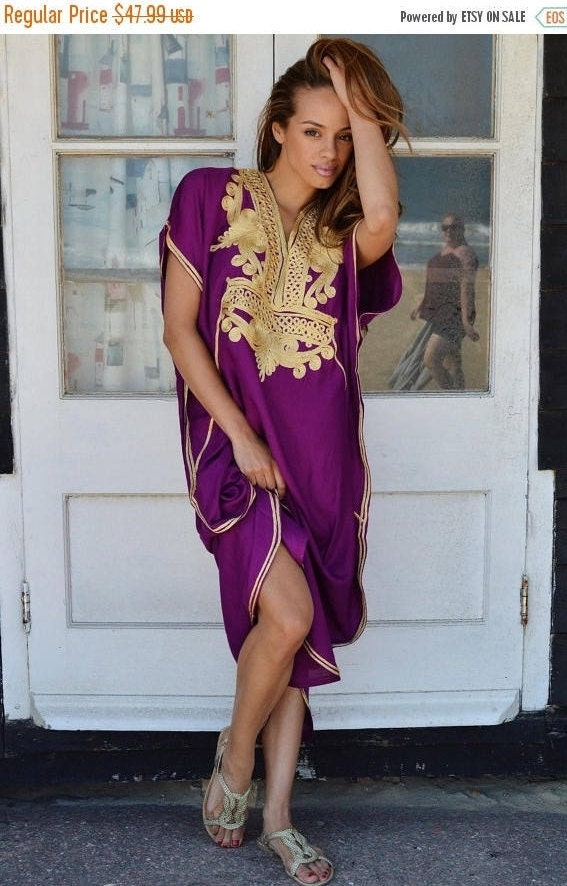 10 OFF Summer SALE  Royal Purple with Gold Marrakech Resort Caftan Kaftan beach cover ups resortwearloungewear maxi dresses birthd
