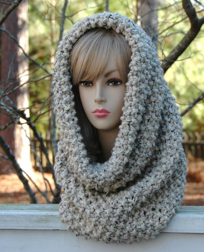 Knitting Pattern Infinity Scarf Hood : Chunky Hand Knit Infinity Scarf Cowl Hood In Neutral by ...