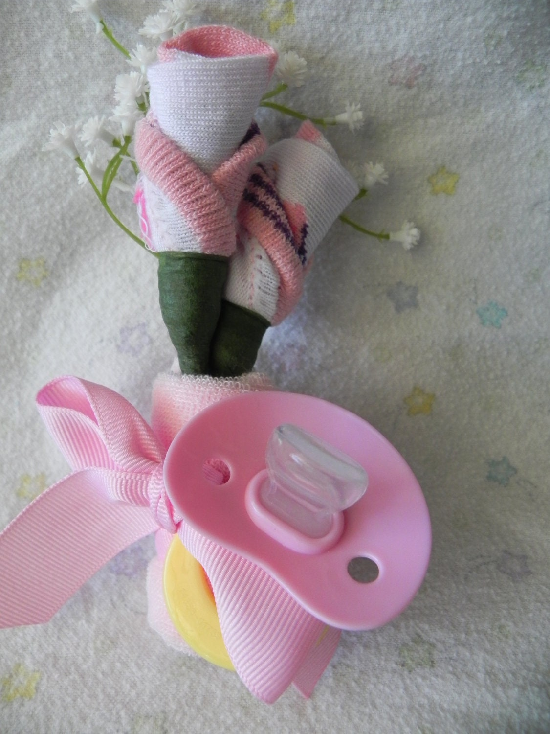 mommy to be girl corsage baby shower sock rose by jeannasadorra
