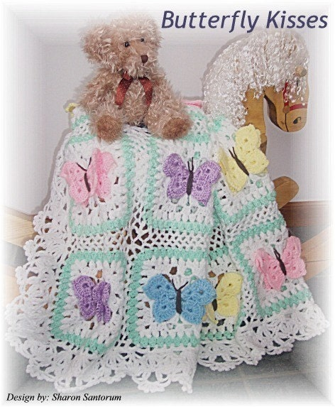 Butterfly Crochet Afghan Pattern Free : Butterfly Kisses Crochet Baby Afghan or Blanket by ...