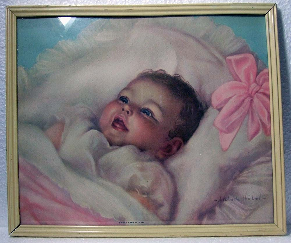 Vintage 1940s Baby Girl Lithograph Print By By