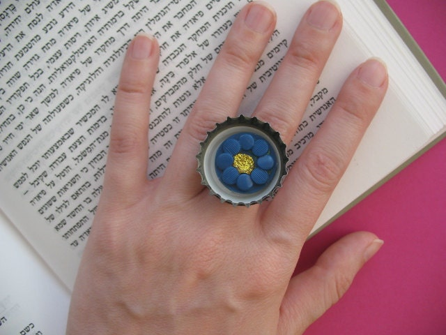 Bottle Cap Ring With Blue Button - Recycled Materials - Adjustable Ring - For Fashion Lovers