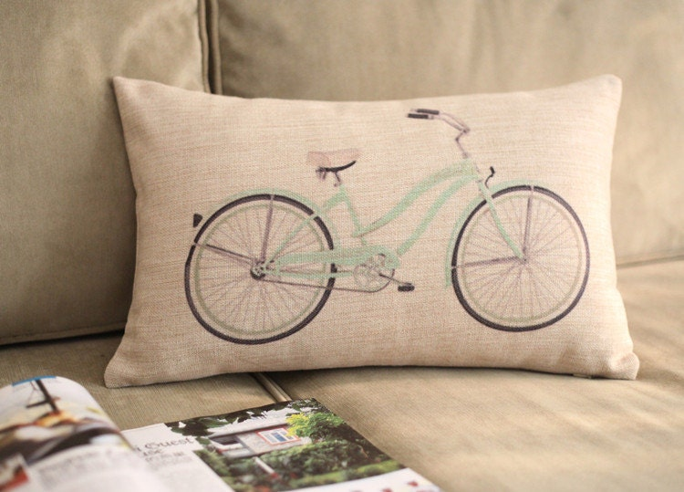 Throw Pillows With Bikes : BICYCLE design vintage throw pillow cushion cover by bestlove2u