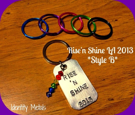 Rise'n Shine 2013 LA Convention Style B - Queer as Folk - QAF - Swarovski Rainbow Charm - Hand Stamped Aluminum Keychain - Profits to RnS