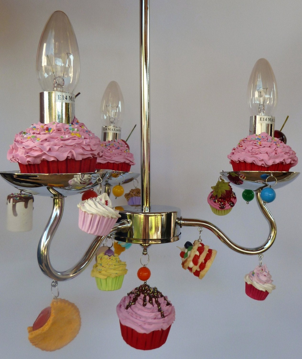 candy land chandelier fake cupcake chandelier hanging by