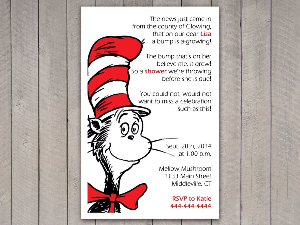 dr seuss invitation baby shower cat in the hat personalized
