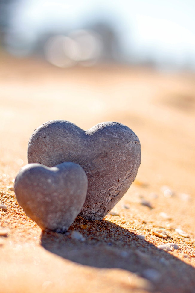 Love Photography Solid as A Rock 8 x 12 Print. Love, Beach, I love you, Heart shaped stones, love hearts, beach love, sand, romantic