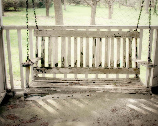 Country Porch Swing Photograph - white country farm house shabby chic old cottage quaint family - FirstLightPhoto