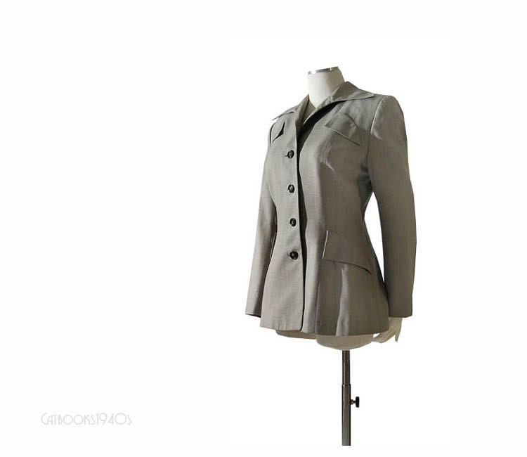 Vintage 1940s Hourglass Jacket - Unusual Details Dove Gray Wool Size M