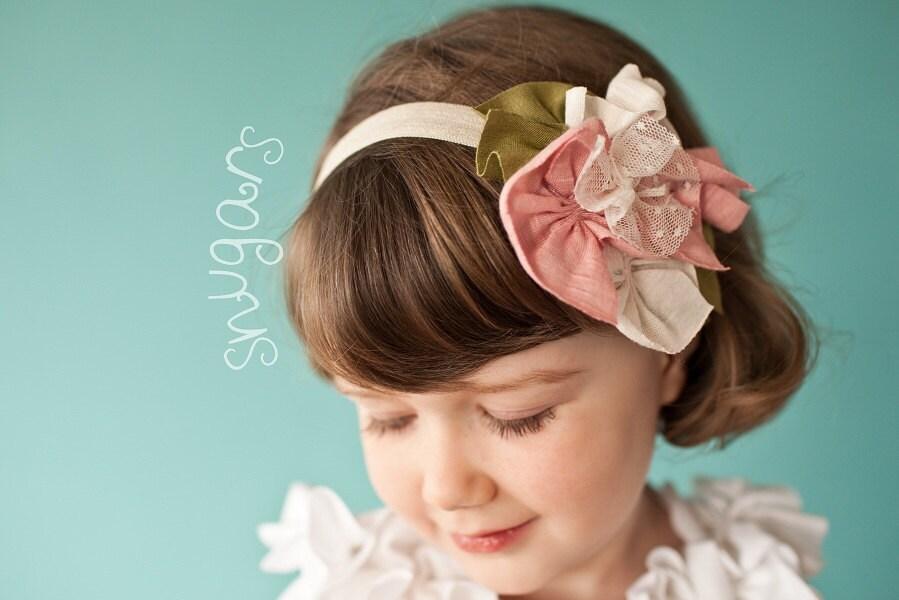 Старинные кружева в румянец оголовье волосы группа девочек малыша PINK ребенок младенец