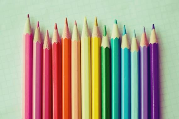 Over the rainbow - Colored Pencils fine art photography 5x7 print - colored pencil photo - colorful rainbow colors - children room decor